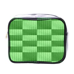 Wool Ribbed Texture Green Shades Mini Toiletries Bags by Celenk