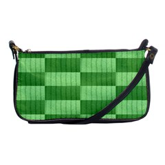 Wool Ribbed Texture Green Shades Shoulder Clutch Bags by Celenk