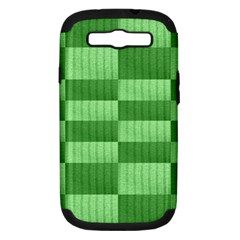 Wool Ribbed Texture Green Shades Samsung Galaxy S Iii Hardshell Case (pc+silicone) by Celenk