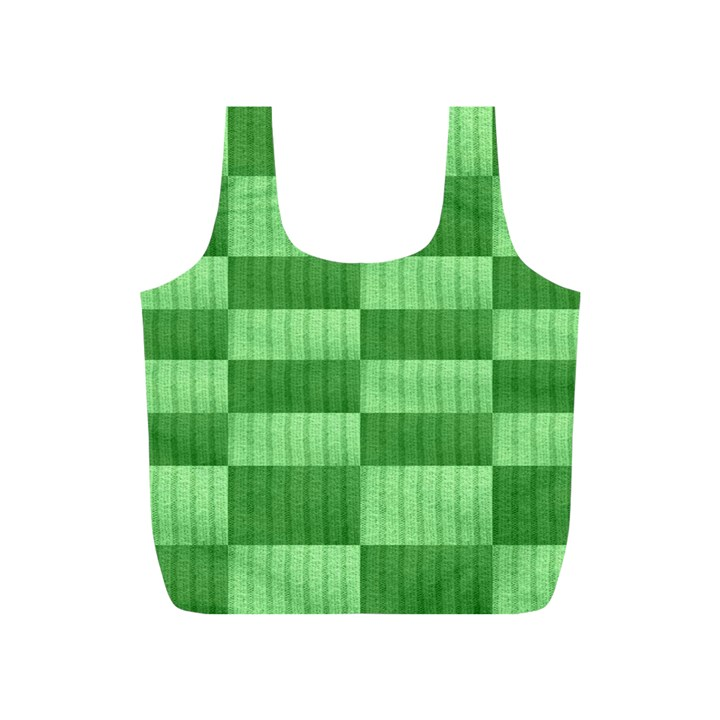 Wool Ribbed Texture Green Shades Full Print Recycle Bags (S)