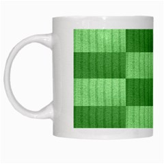 Wool Ribbed Texture Green Shades White Mugs by Celenk