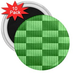 Wool Ribbed Texture Green Shades 3  Magnets (10 Pack)  by Celenk