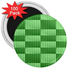 Wool Ribbed Texture Green Shades 3  Magnets (100 Pack) by Celenk