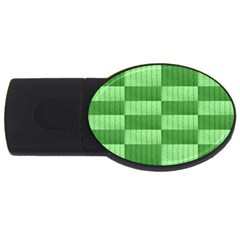 Wool Ribbed Texture Green Shades Usb Flash Drive Oval (2 Gb) by Celenk