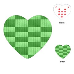 Wool Ribbed Texture Green Shades Playing Cards (heart)  by Celenk