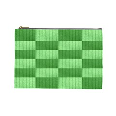 Wool Ribbed Texture Green Shades Cosmetic Bag (large)  by Celenk