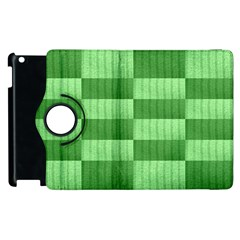 Wool Ribbed Texture Green Shades Apple Ipad 2 Flip 360 Case by Celenk