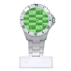 Wool Ribbed Texture Green Shades Plastic Nurses Watch by Celenk