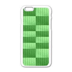 Wool Ribbed Texture Green Shades Apple Iphone 6/6s White Enamel Case by Celenk
