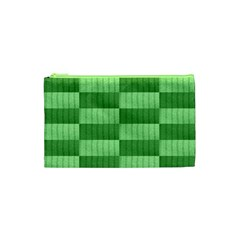 Wool Ribbed Texture Green Shades Cosmetic Bag (xs) by Celenk