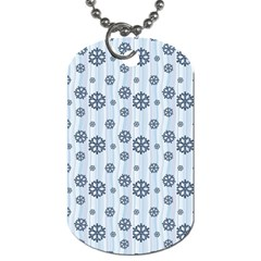 Snowflakes Winter Christmas Card Dog Tag (two Sides) by Celenk