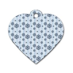 Snowflakes Winter Christmas Card Dog Tag Heart (one Side) by Celenk