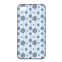 Snowflakes Winter Christmas Card Apple Iphone 4/4s Seamless Case (black) by Celenk