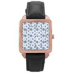 Snowflakes Winter Christmas Card Rose Gold Leather Watch  by Celenk