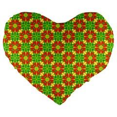 Pattern Texture Christmas Colors Large 19  Premium Heart Shape Cushions by Celenk