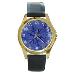 Winter Hardest Frost Cold Round Gold Metal Watch by Celenk