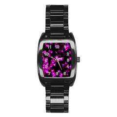 Abstract Background Purple Bright Stainless Steel Barrel Watch by Celenk