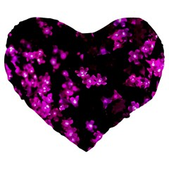 Abstract Background Purple Bright Large 19  Premium Flano Heart Shape Cushions by Celenk