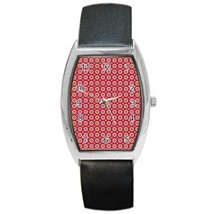 Christmas Wrapping Paper Barrel Style Metal Watch by Celenk