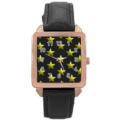 Stars Backgrounds Patterns Shapes Rose Gold Leather Watch  by Celenk