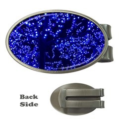 Lights Blue Tree Night Glow Money Clips (oval)  by Celenk