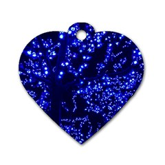 Lights Blue Tree Night Glow Dog Tag Heart (one Side) by Celenk
