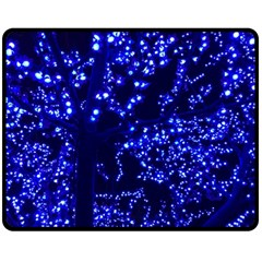 Lights Blue Tree Night Glow Fleece Blanket (medium)  by Celenk