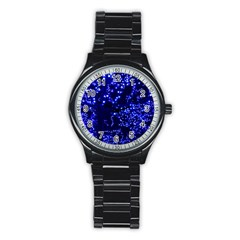 Lights Blue Tree Night Glow Stainless Steel Round Watch by Celenk