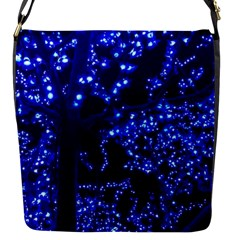 Lights Blue Tree Night Glow Flap Messenger Bag (s) by Celenk