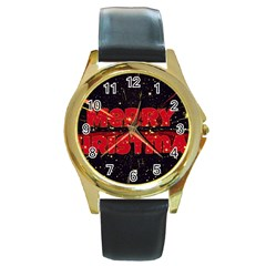 Star Sky Graphic Night Background Round Gold Metal Watch by Celenk
