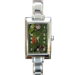 Branch Christmas Cone Evergreen Rectangle Italian Charm Watch by Celenk