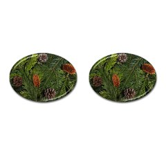 Branch Christmas Cone Evergreen Cufflinks (oval) by Celenk