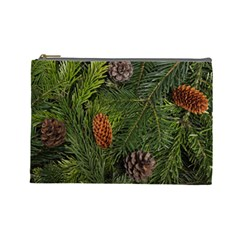 Branch Christmas Cone Evergreen Cosmetic Bag (large)  by Celenk