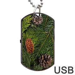 Branch Christmas Cone Evergreen Dog Tag Usb Flash (one Side) by Celenk