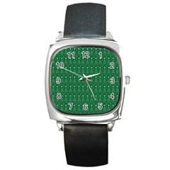 Christmas Tree Pattern Design Square Metal Watch