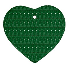 Christmas Tree Pattern Design Heart Ornament (two Sides)