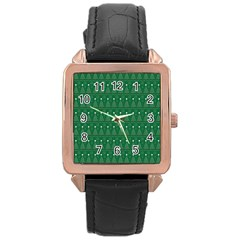Christmas Tree Pattern Design Rose Gold Leather Watch  by Celenk