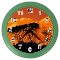 Trees Branches Sunset Sky Clouds Color Wall Clocks by Celenk