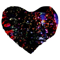 Abstract Background Celebration Large 19  Premium Flano Heart Shape Cushions by Celenk