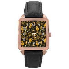 Christmas Background Rose Gold Leather Watch  by Celenk