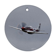P 51 Mustang Flying Round Ornament (two Sides) by Ucco
