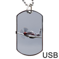 P 51 Mustang Flying Dog Tag Usb Flash (one Side) by Ucco