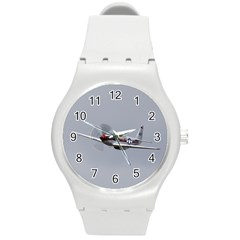 P 51 Mustang Flying Round Plastic Sport Watch (m) by Ucco