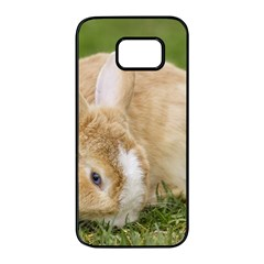 Beautiful Blue Eyed Bunny On Green Grass Samsung Galaxy S7 Edge Black Seamless Case by Ucco