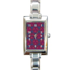 Bereket Red Blue Rectangle Italian Charm Watch by Cveti