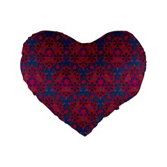 Bereket Red Blue Standard 16  Premium Flano Heart Shape Cushions by Cveti