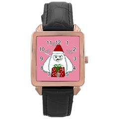 Yeti Xmas Rose Gold Leather Watch  by Valentinaart