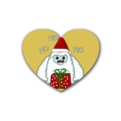 Yeti Xmas Rubber Coaster (heart)  by Valentinaart