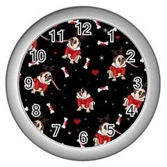 Pug Xmas Pattern Wall Clocks (silver)  by Valentinaart