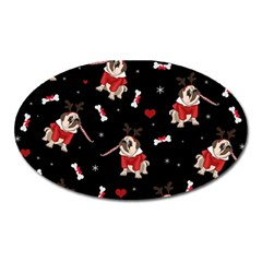 Pug Xmas Pattern Oval Magnet by Valentinaart